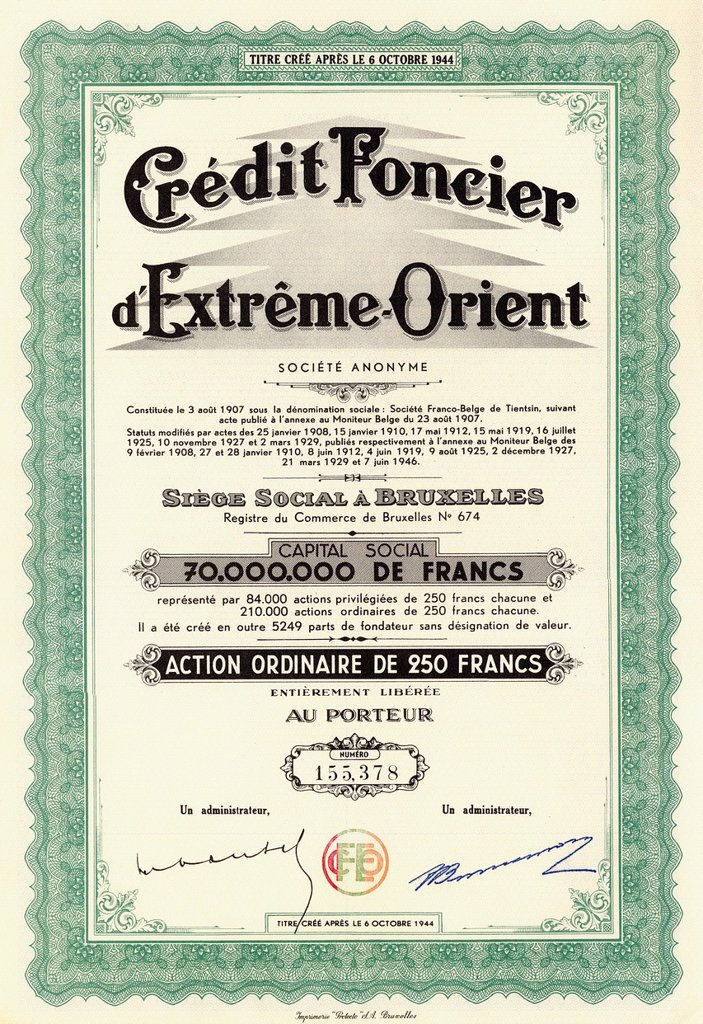 Stock Photo: 1848-695252 Historic stock certificate, share, banking, finance, Credit Foncier d´Extreme_Orient, 1946, 250 Belgian francs, Brussels, Belgium, Europe
