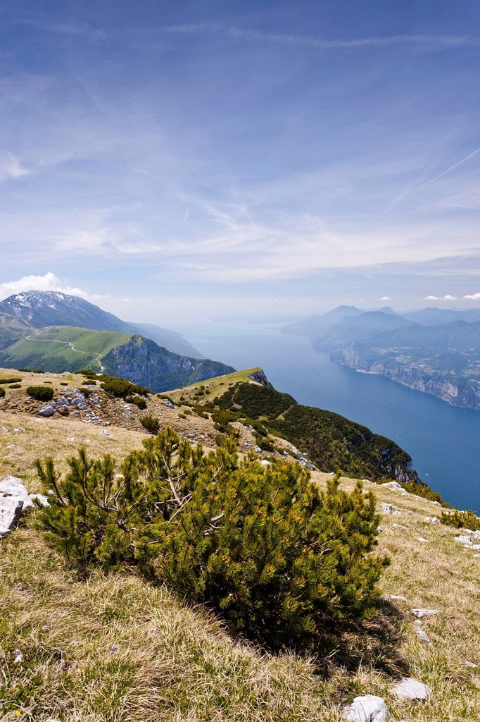 View from Monte Altissimo above Nago, looking towards Lake Garda, with Monte Baldo at the rear, Trentino, Italy, Europe : Stock Photo