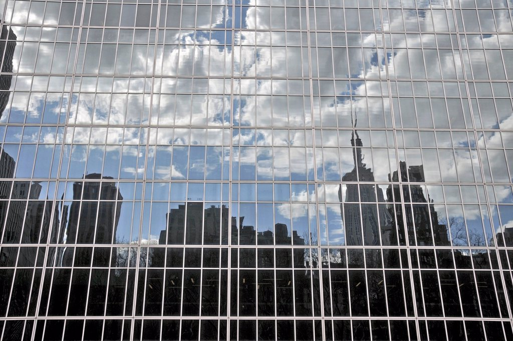 Stock Photo: 1848-696065 High_rise buildings reflected in glass facade, Financial District, Manhattan, New York City, USA, America, PublicGround