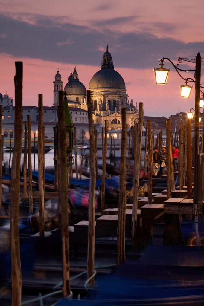 Stock Photo: 1848-696140 Venice at dusk, Santa Maria della Salute, Venice, Veneto, Italy, Europe
