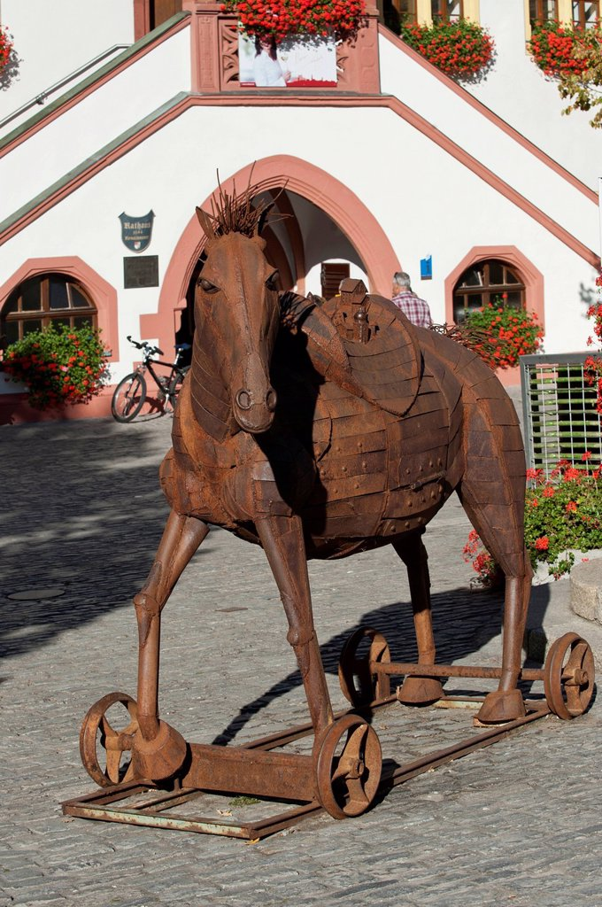 Horse made of iron, Marktplatz, market square, Volkach, Volkach, Lower Franconia, Franconia, Germany, Europe : Stock Photo
