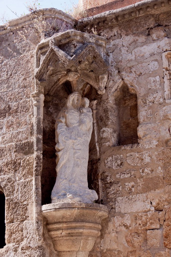Stock Photo: 1848-696339 Statue, Church of Agia Triada, Odos Ippoton, medieval Street of the Knights, city of Rhodes, Rhodes, Greece, Europe