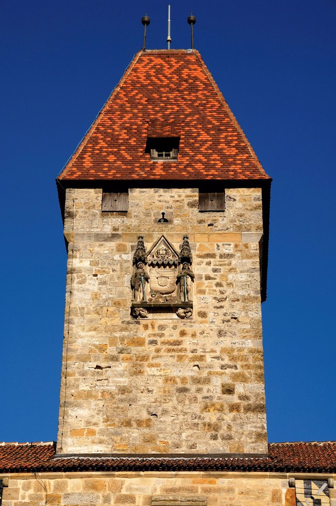 Stock Photo: 1848-696577 Bulgarenturm tower of the Veste Coburg castle, mentioned in documents in 1225, triple castle ring, early 15th century, Veste Coburg 1, Coburg, Upper Franconia, Bavaria, Germany, Europe