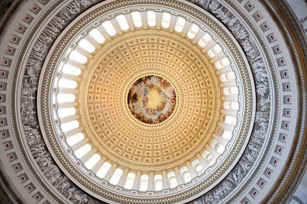 Stock Photo: 1848-696908 Rotunda of the dome, fresco Apotheosis of Washington by Constantino Brumidi, United States Capitol, Capitol Hill, Washington DC, District of Columbia, United States of America, USA
