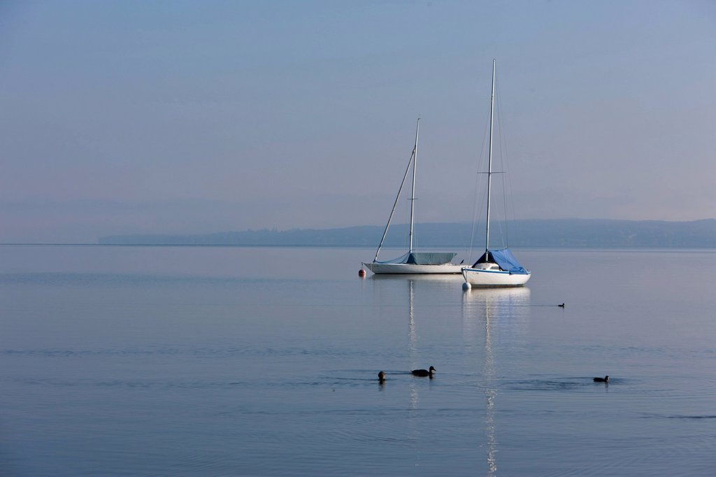 Stock Photo: 1848-697455 Two sailing boats in light morning fog, Diessen am Ammersee, Lake Ammer, Bavaria, Germany, Europe