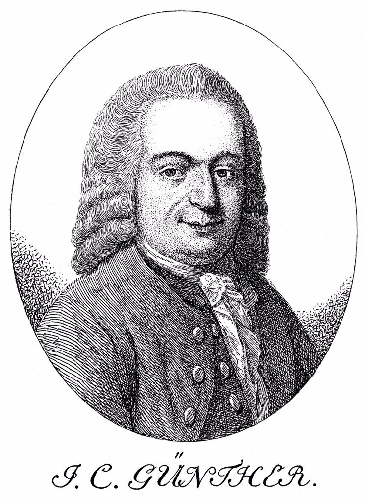 Historic print, engraving from 1756, portrait of Johann Christian Guenther, 1695 _ 1723, a German poet : Stock Photo