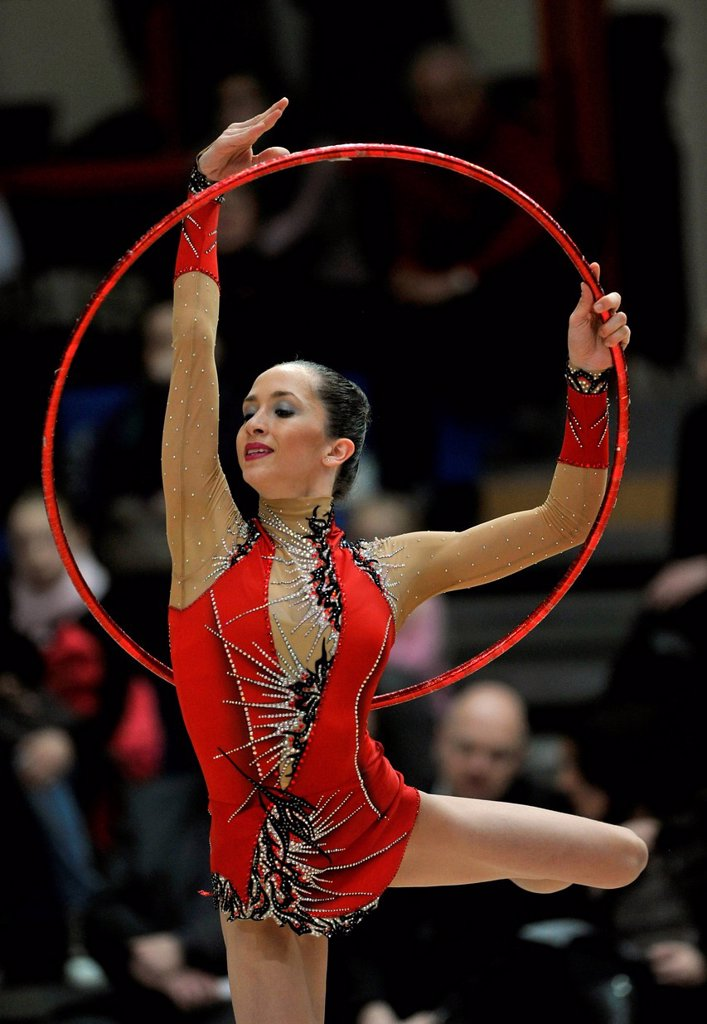 Stock Photo: 1848-697680 Neta Rivkin, ISR, Israel, hoop, Rhythmic Gymnastics Schmiden International 2012, Fellbach near Stuttgart, Baden_Wuerttemberg, Germany, Europe