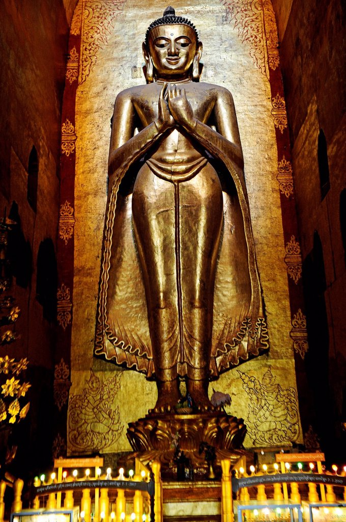 Stock Photo: 1848-697721 Big standing Buddha, Ananda Temple, Bagan, Burma also known as Myanmar, Southeast Asia, Asia