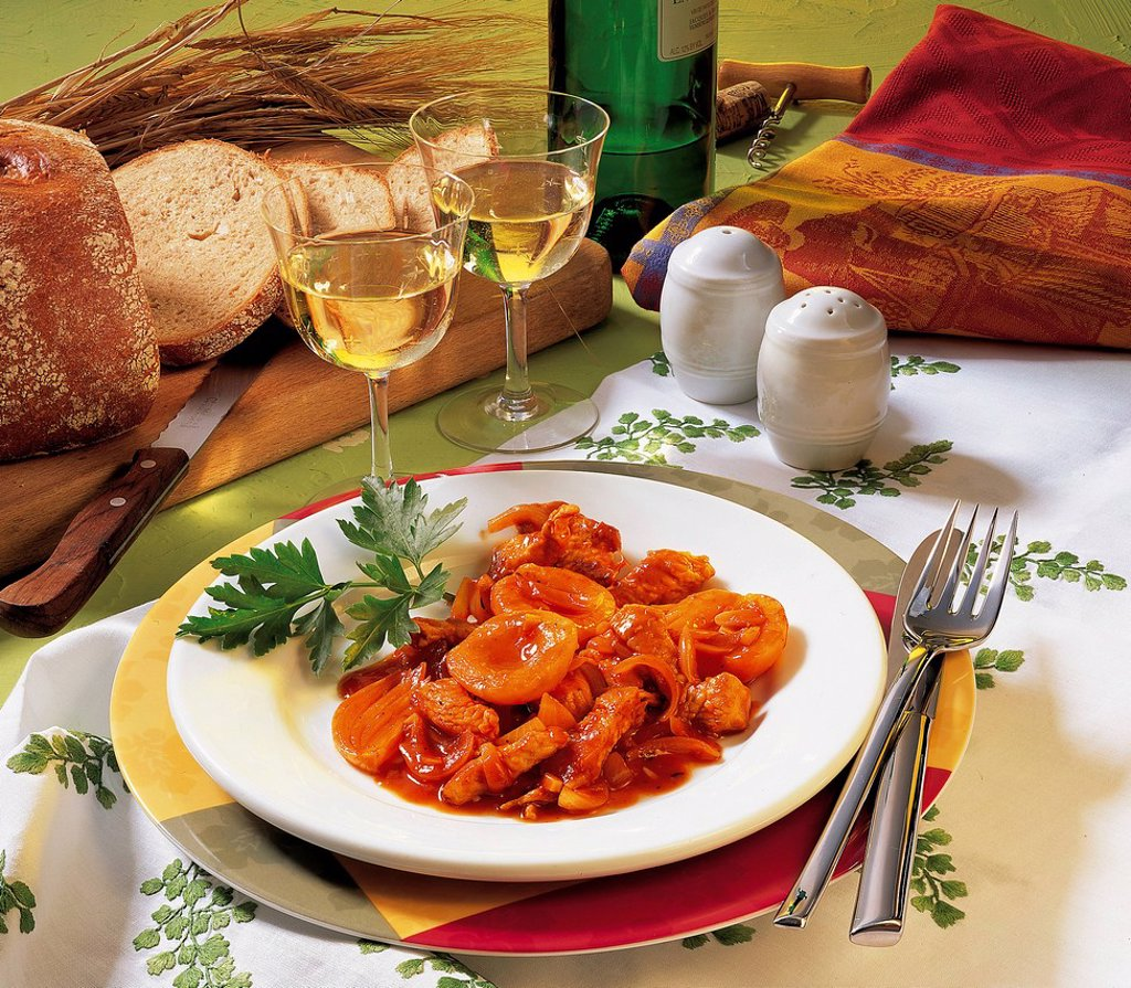 Stock Photo: 1848-697949 Turkey stew with apricots, Moldova, recipe available for a fee