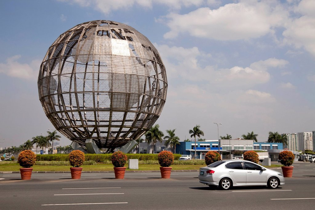 Stock Photo: 1848-698118 Giant globe at a roundabout outside the Mall of Asia shopping centre, Manila, Philippines, Asia
