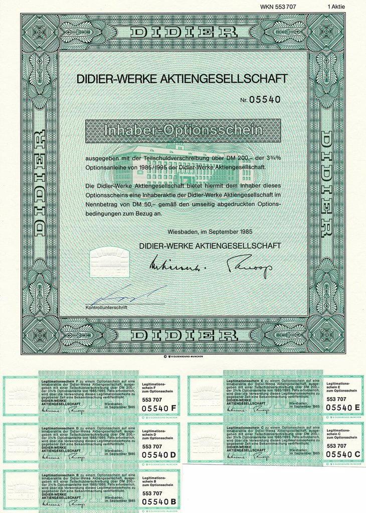 Historical share certificate, bearer warrant, ceramic refractory materials for the iron and steel industries, the cement, lime and glass industries and ceramic specialty products, Didier_Werke Aktiengesellschaft, 1985, Wiesbaden, Germany, Europe : Stock Photo