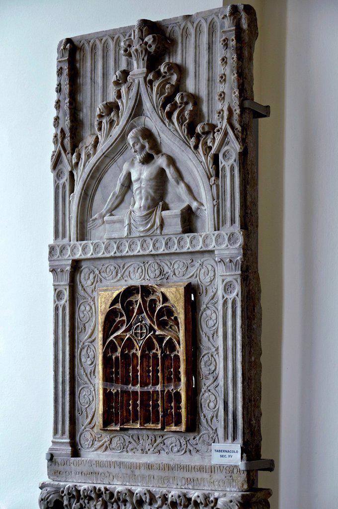 Stone tabernacle with Jesus relief, 15th century, museum of the Benedictine abbey of Montecassino, Monte Cassino, Cassino, Lazio, Italy, Europe : Stock Photo