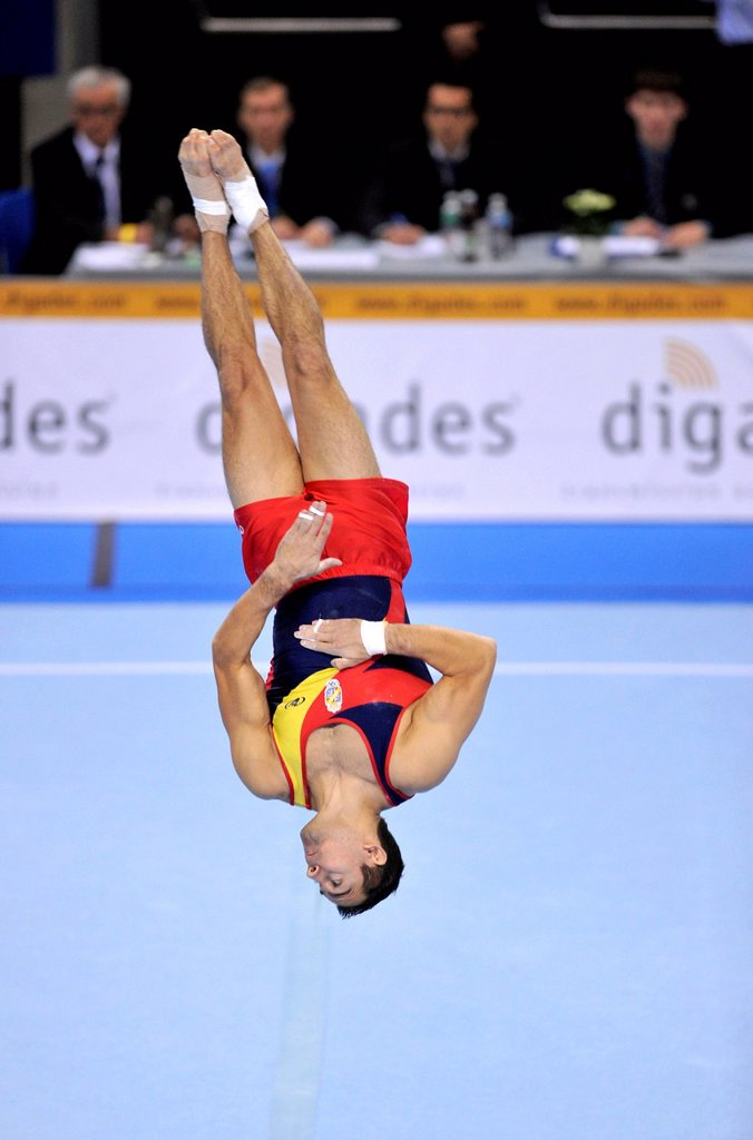Stock Photo: 1848-698342 Rafael Martinez, ESP, during floor exercise, EnBW Gymnastics World Cup, 11 to 13 Nov 2011, 29th DTB Cup, Porsche_Arena, Stuttgart, Baden_Wuerttemberg, Germany, Europe