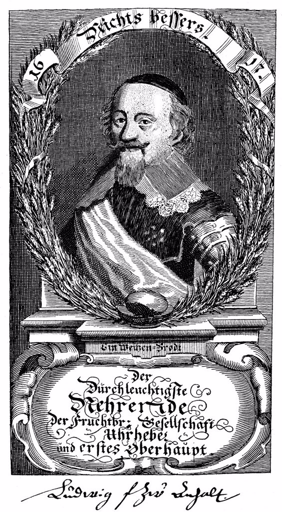 Stock Photo: 1848-698419 Historic print, copper engraving from 1668, portrait of Wilhelm Ludwig, Prince of Anhalt_Koethen, 1638 _ 1665, from Bildatlas zur Geschichte der Deutschen Nationalliteratur, an illustrated atlas by Gustav Koennecke, 1887