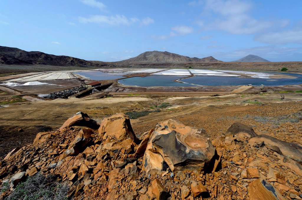 Stock Photo: 1848-698582 Saltworks in the crater of Pedra de Lume, Sal, Cape Verde, Africa