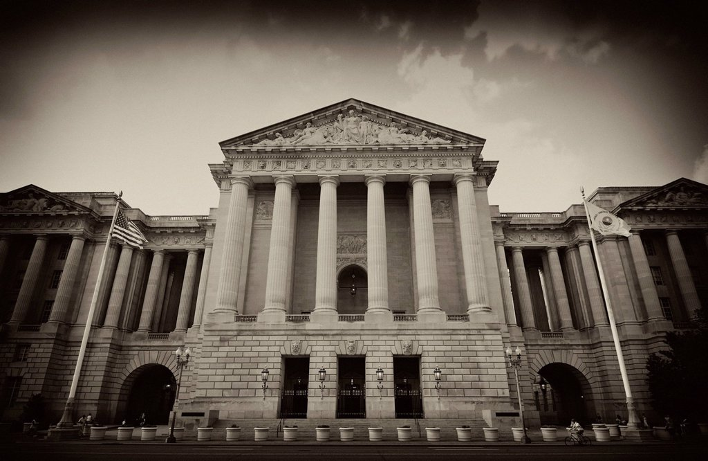 Black and white image, sepia, neoclassical facade of the Andrew Mellon Auditorium, former Departmental Auditorium, National Mall, Washington DC, District of Columbia, United States of America, USA, PublicGround : Stock Photo