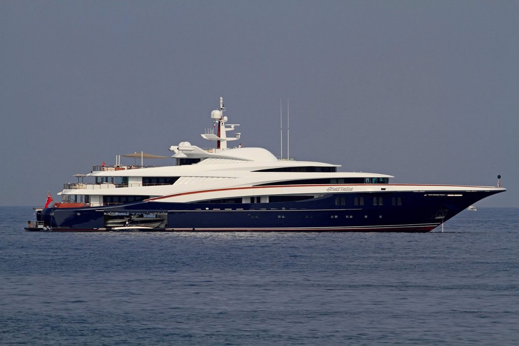Stock Photo: 1848-699064 Motor yacht, Anastasia, built by Oceanco, length 85.5 metres, built in 2008, on the Côte d´Azur, Mediterranean, France, Europe