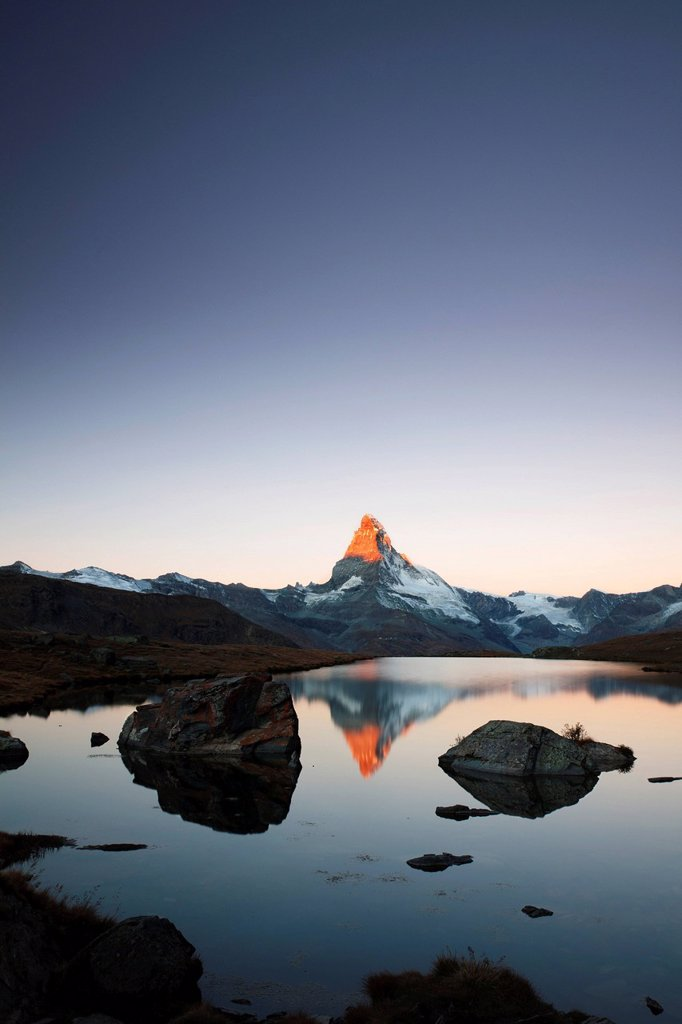 Stock Photo: 1848-699166 Mt Matterhorn at sunrise, reflection in Stellisee Lake, Zermatt, Canton Valais, Switzerland, Europe, PublicGround
