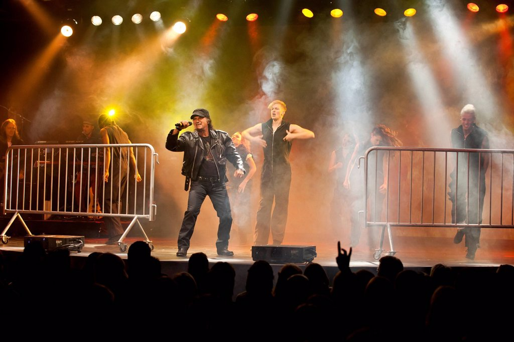 Stock Photo: 1848-699280 Rock songs performed by Marc Storace of rock band Krokus, artistic performance, live performance, Das Zelt, events venue, Rock Circus in Lucerne, Switzerland, Europe