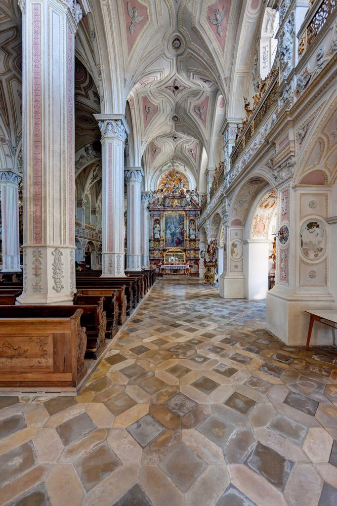 Interior view, parish church of St. Salvator and the Holy Cross, Heilig Kreuz, former Augustinian Canons Church, Polling, Upper Bavaria, Bavaria, Germany, Europe : Stock Photo