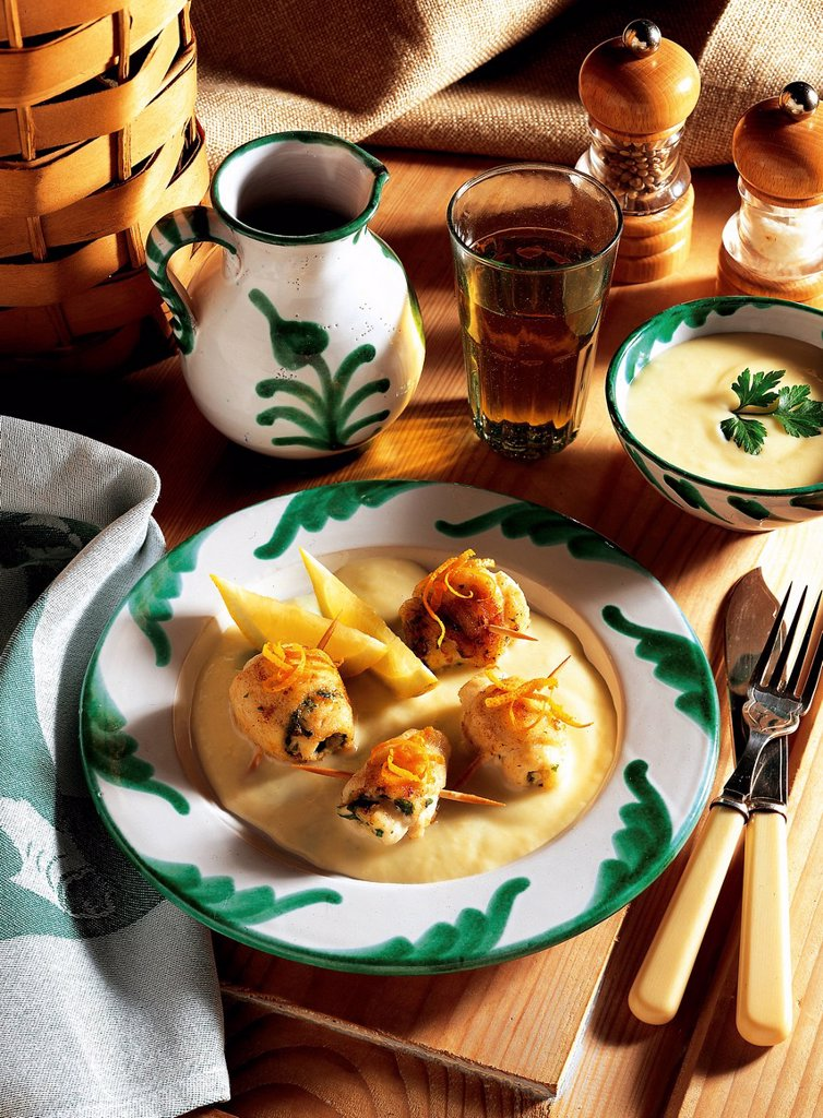 Andalusian fish rolls with sherry, sole fillets with parsley and orange peel, soaked in olive oil, Spain, recipe available for a fee : Stock Photo