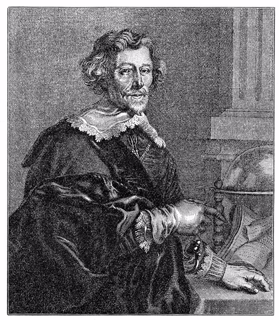 Historical engraving from 19th Century, portrait of Pieter Hoost, 1581_1647, Dutch poet : Stock Photo