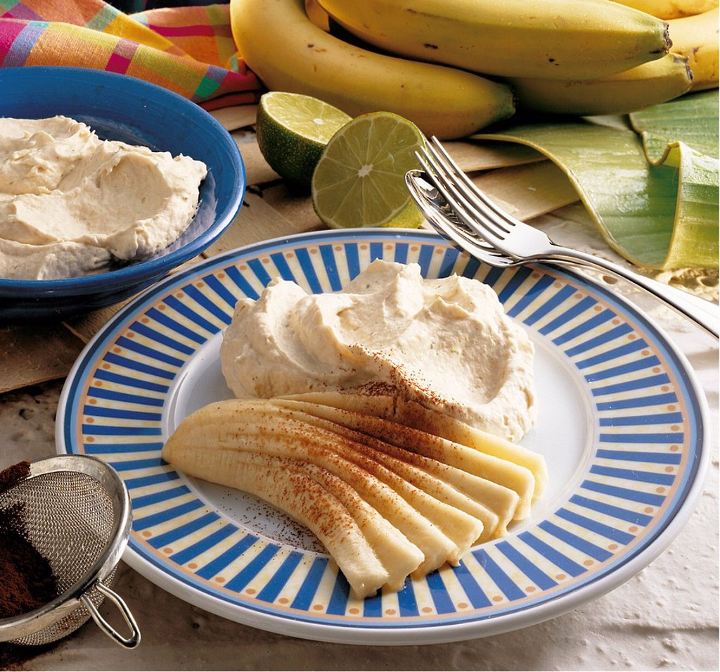 Brazilian banana mousse, Brazil, recipe available for a fee : Stock Photo