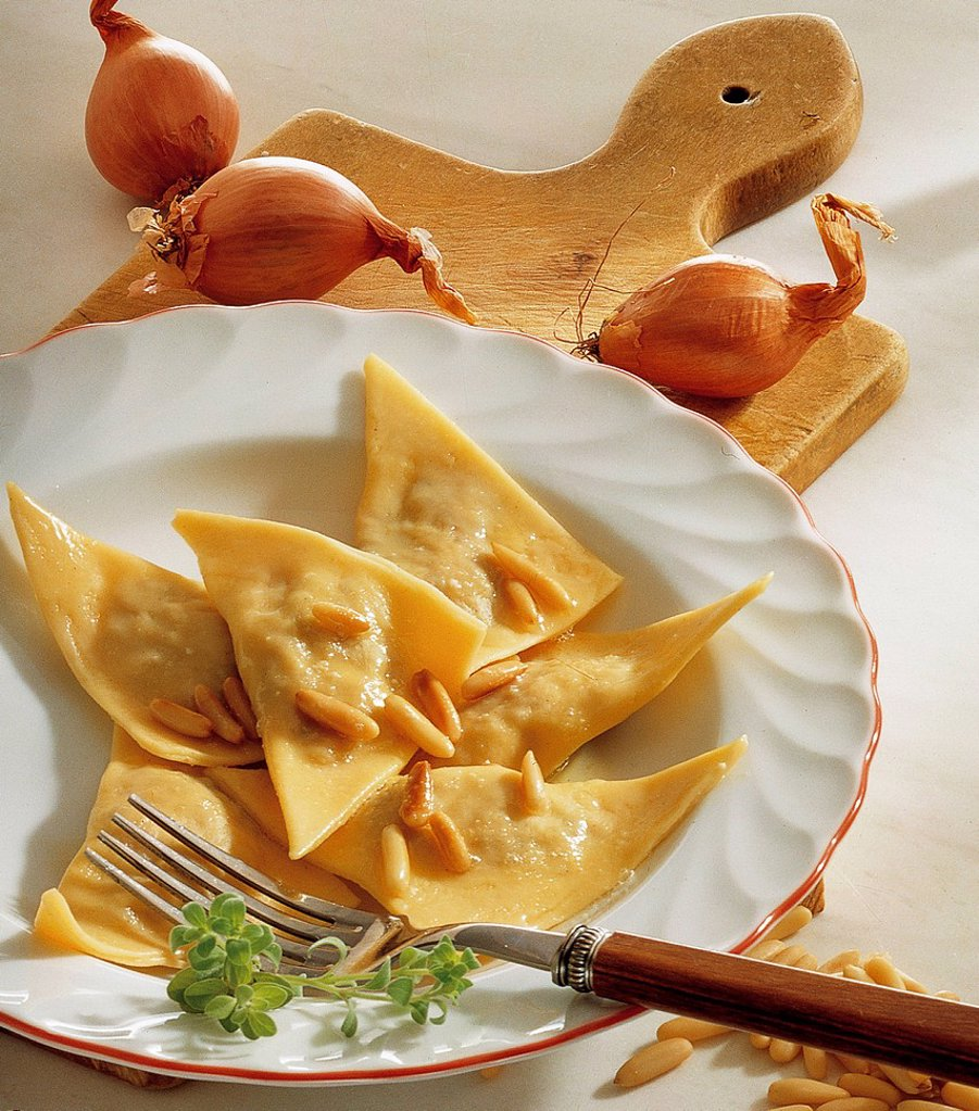 Unripe spelt grain ravioli, Switzerland, recipe available for a fee : Stock Photo