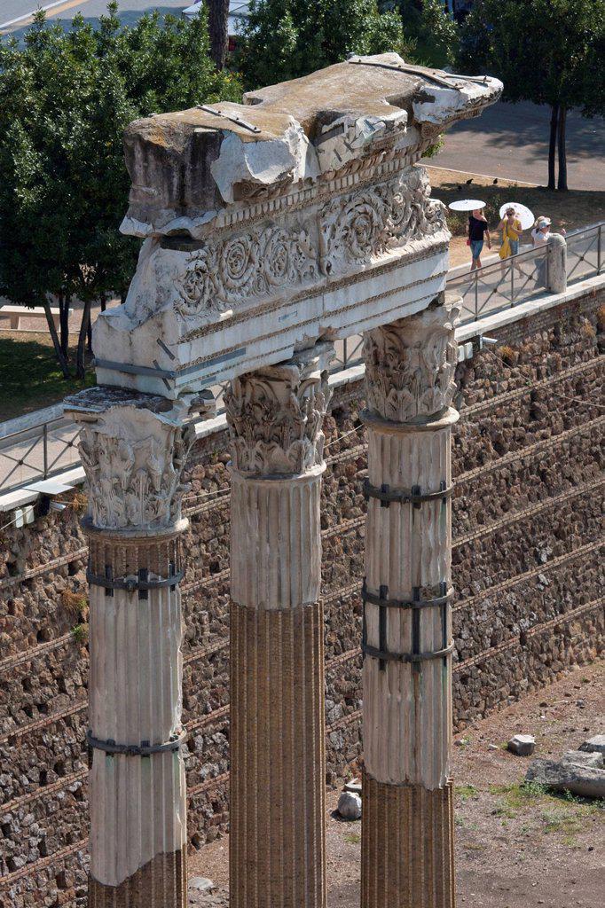 View from Capitoline Hill on columns of the Forum Julius Caesar, Forum Romanum, Roman Forum, Rome, Italy, Europe : Stock Photo