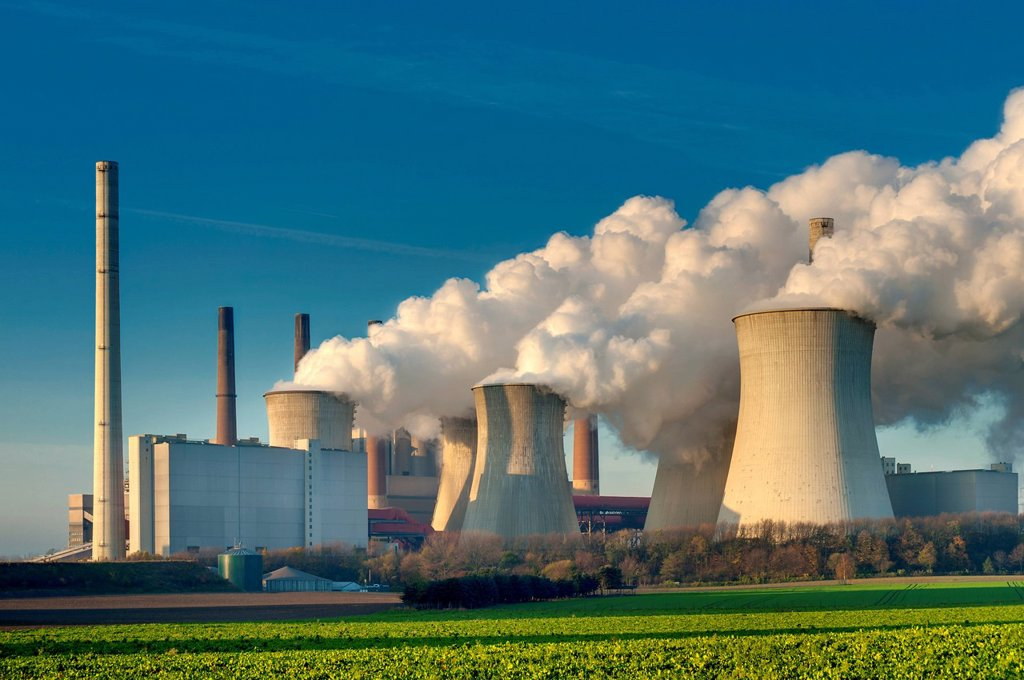 Stock Photo: 1848-700162 Braunkohlekraftwerk Neurath, lignite_fired power plant, Grevenbroich, North Rhine_Westphalia, Germany, Europe