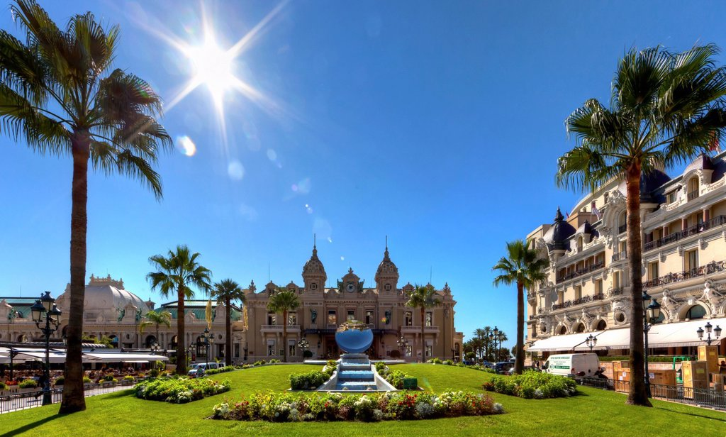 Casino and Hotel de Paris, Place du Casino, Monte Carlo, Principality of Monaco, Europe, PublicGround : Stock Photo