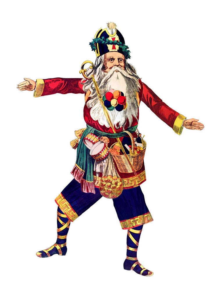 Dancing Santa Claus, historical illustration : Stock Photo