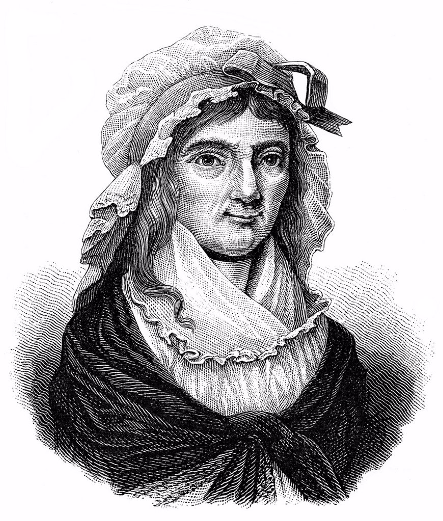 Historical engraving from the 19th Century, portrait of Betje Wolff or Elizabeth Bekker, 1738_1804, Dutch writer : Stock Photo