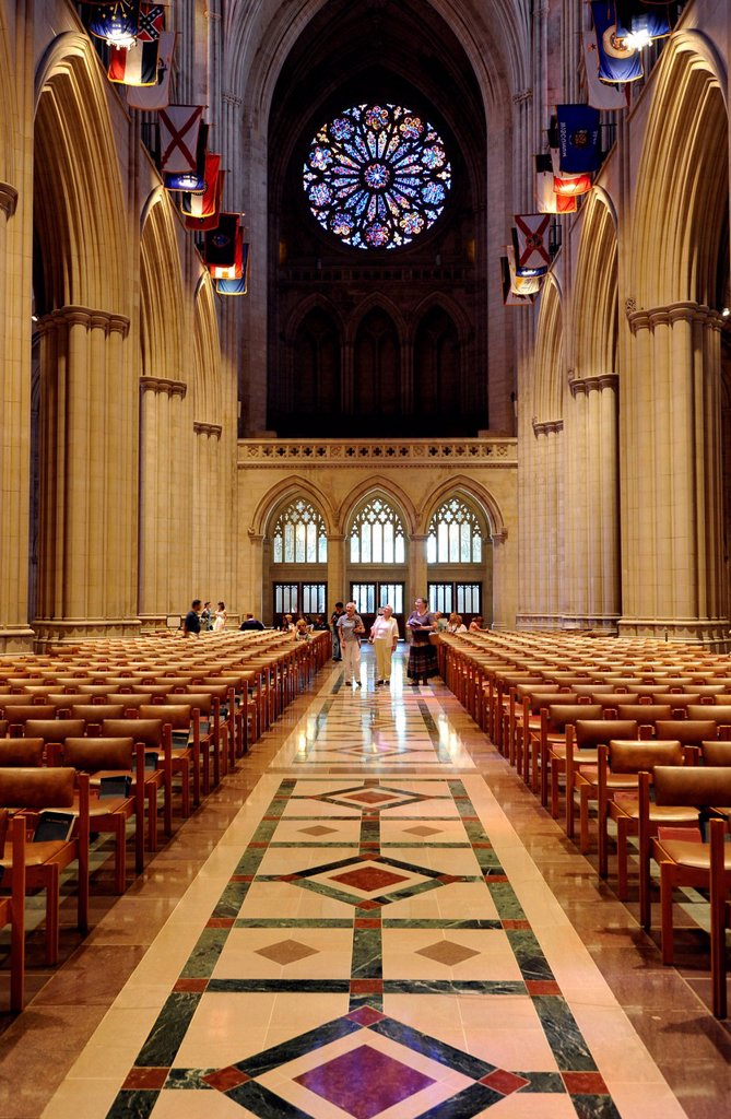 Stock Photo: 1848-700968 Nave and west portal, Washington National Cathedral or Cathedral Church of Saint Peter and Saint Paul in the diocese of Washington, Washington, DC, District of Columbia, United States of America, USA