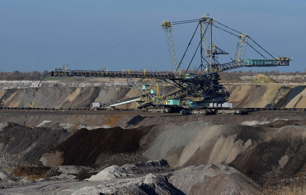Spreader in the Schleenhain brown coal opencast mine, Saxony, Germany, Europe : Stock Photo