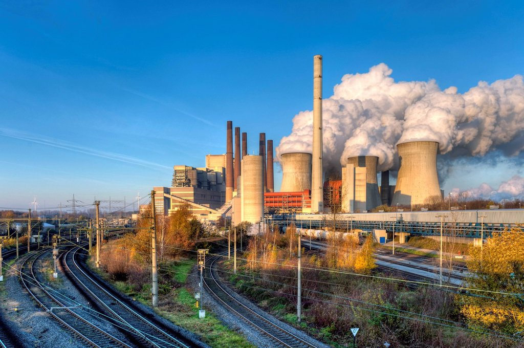 Braunkohlekraftwerk Neurath, lignite_fired power plant, Grevenbroich, North Rhine_Westphalia, Germany, Europe : Stock Photo