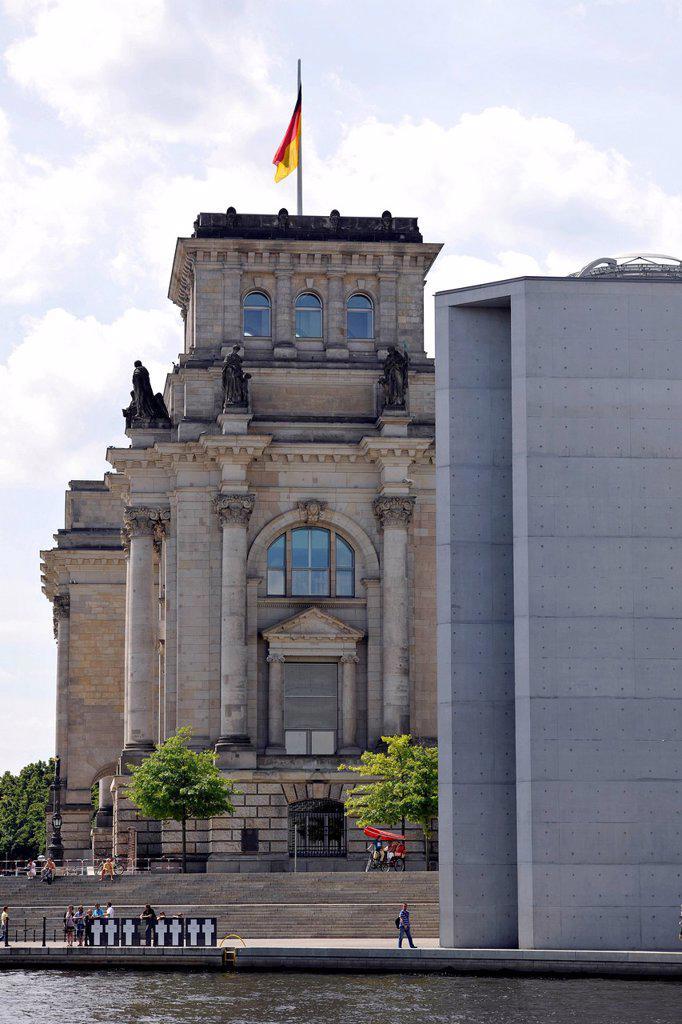 Stock Photo: 1848-701019 Reichstag building, German parliament, behind the Paul_Loebe_Haus building, Reichstagsufer riverside, Regierungsviertel, Berlin, Germany, Europe, PublicGround