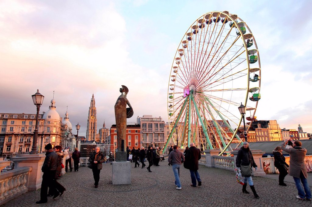 Christmas market, ferris wheel, on the Scheldt or Schelde river bank, historic centre of Antwerp, Flanders, Belgium, Europe : Stock Photo