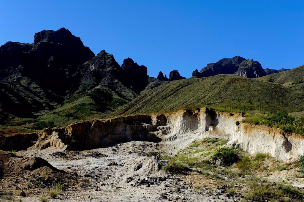 Mountains at Cha de Morte, mining of puzzolana or tuff, rocks, Santo Antao, Cape Verde, Africa : Stock Photo