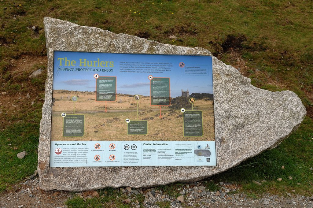 Info panel on ´´The Hurlers´´, stone circle, standing stones from the early Bronze Age on Bodmin Moor, Minions, Dartmoor, Cornwall, England, United Kingdom, Europe : Stock Photo
