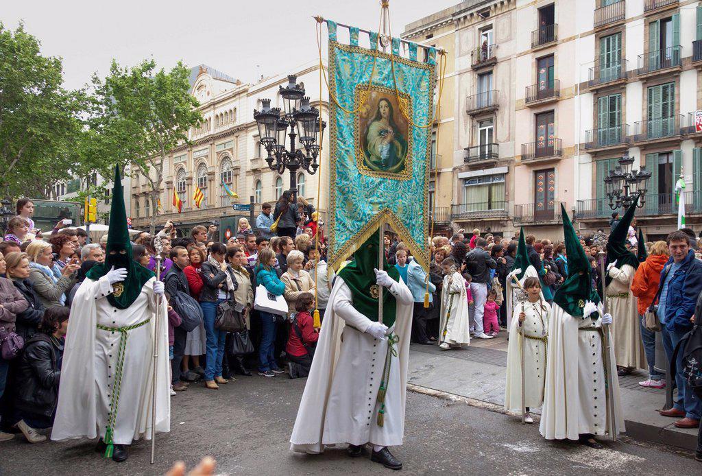 Penitents with crosses at the Semana Santa procession, Holy Week, Barcelona, Catalonia, Spain, Europe : Stock Photo