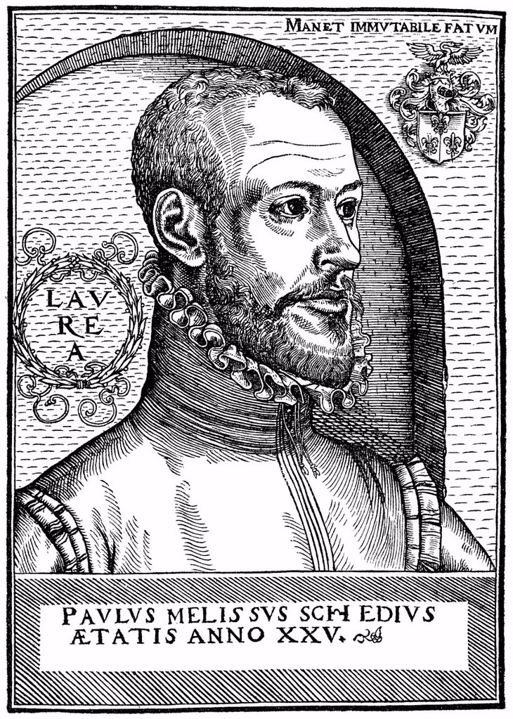 Stock Photo: 1848-701668 Historical engraving, woodcut, portrait of Paul Melissus or Paul Schede or Paulus Schedius Melissus, 1539 _ 1602, Neo_Latin humanist writer, translator and composer