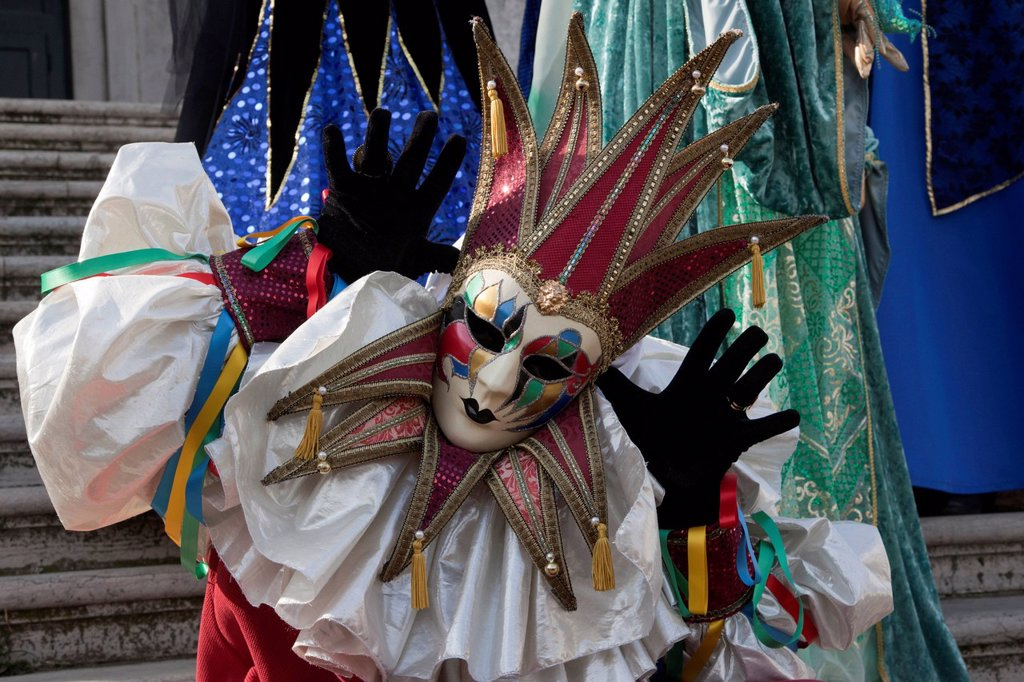 Stock Photo: 1848-701693 Masked man dressed as a harlequin at the carnival in Venice, Veneto, Italy, Europe