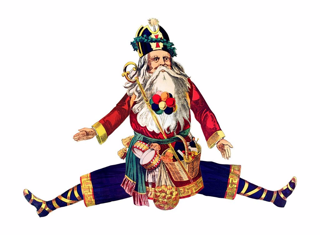 Stock Photo: 1848-701807 Dancing Santa Claus, historical illustration