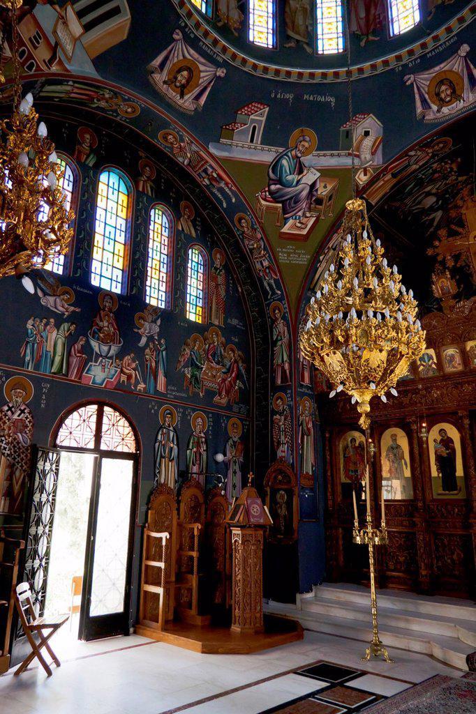 Stock Photo: 1848-701823 Interior view, Saint Nectarius church near Archipolis, Rhodes, Greece, Europe