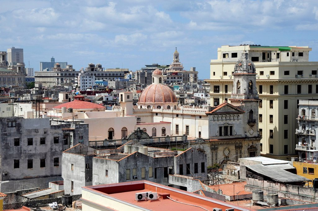 Stock Photo: 1848-701836 View over the rooftops, historic district of Havana, Habana Vieja, Old Havana, Cuba, Greater Antilles, Caribbean, Central America, America