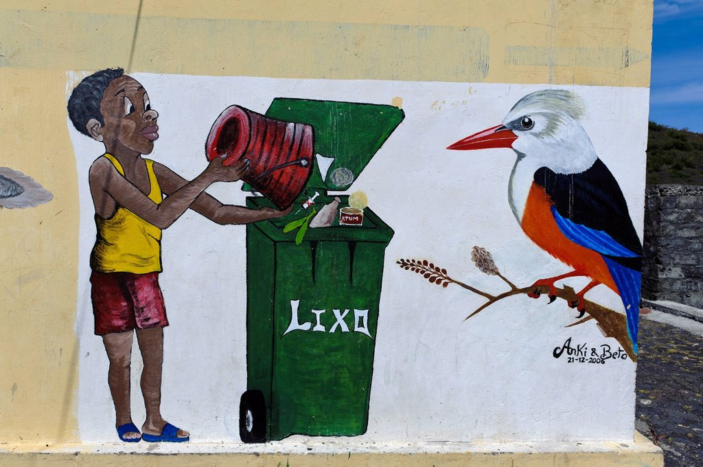 Mural with a person, rubbish bin and a grey_headed Kingfisher, Chã das Caldeiras, Plain of the Calderas, Fogo, Cape Verde, Africa : Stock Photo