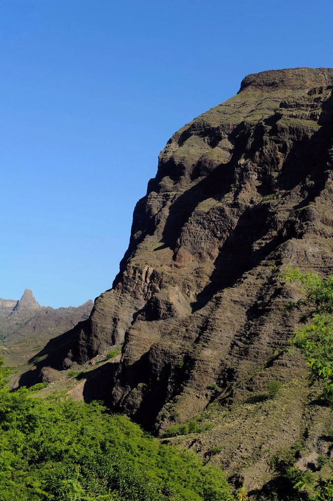 Mountains at Cha de Morte, Santo Antao, Cape Verde, Africa : Stock Photo