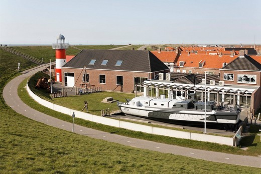 Polderhuis, dyke _ and war museum, Westkapelle, Walcheren, Zeeland, Netherlands, Europe : Stock Photo