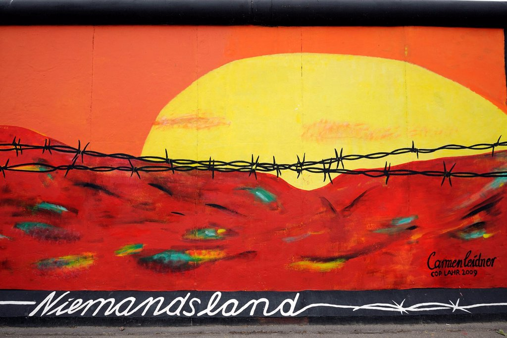 Stock Photo: 1848-702266 Niemandsland, No Man´s Land, by Carmen Leidner, painting on the Berlin Wall, East Side Gallery, Berlin, Germany, Europe